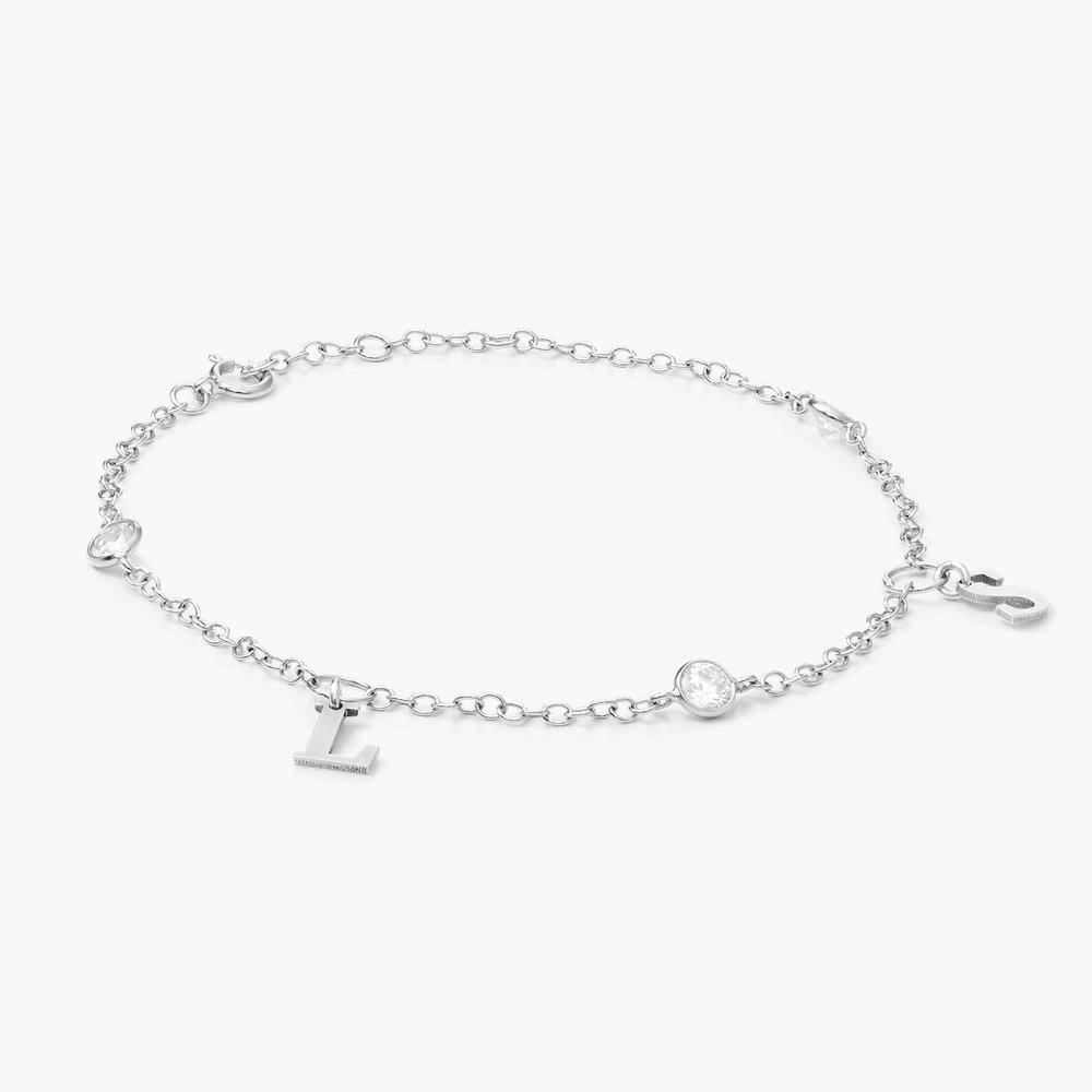 Cubic Zirconia Links Bracelet, Silver - 1