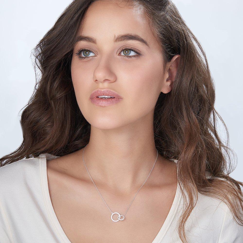 Double Eclipse Necklace, Silver - 1