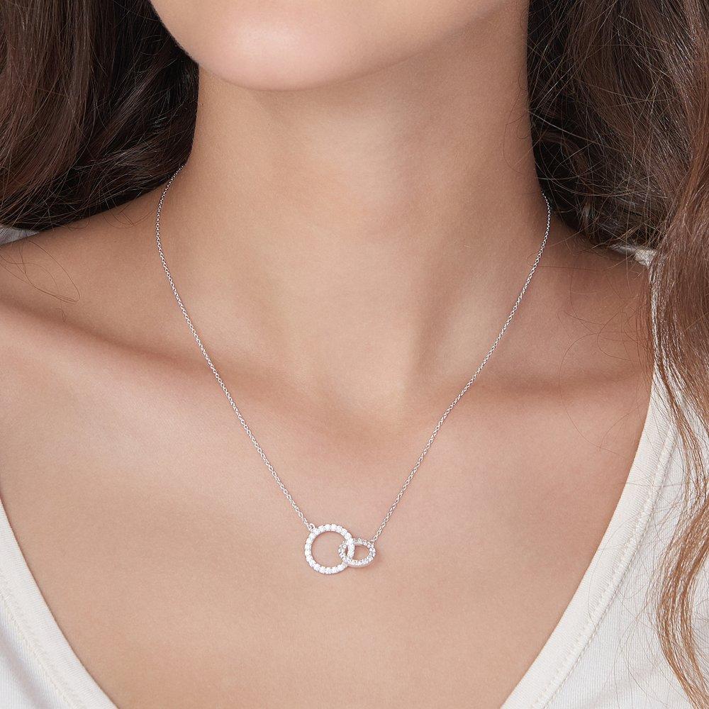 Double Eclipse Necklace, Silver - 2