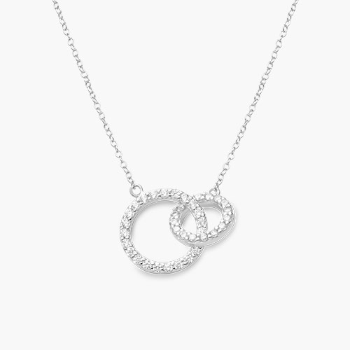 Double Eclipse Necklace, Silver