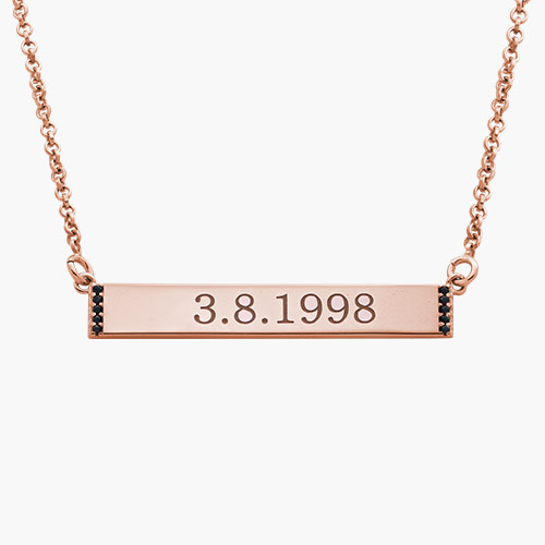 Engravable Bar Necklace with Cubic Zirconia, Gold Plated