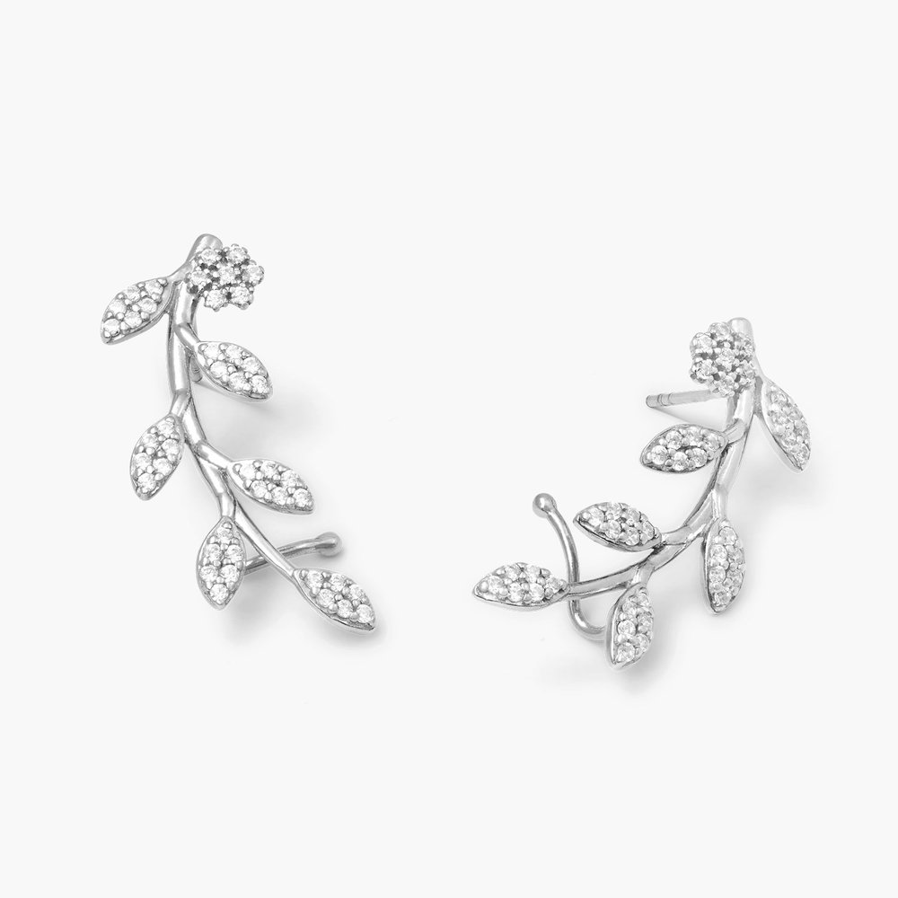 Flora Crawler Earrings Silver