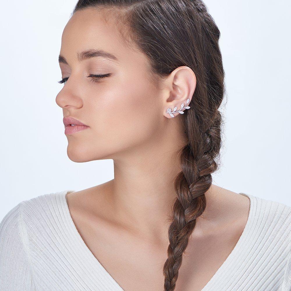 Flora Crawler Earrings, Silver - 2