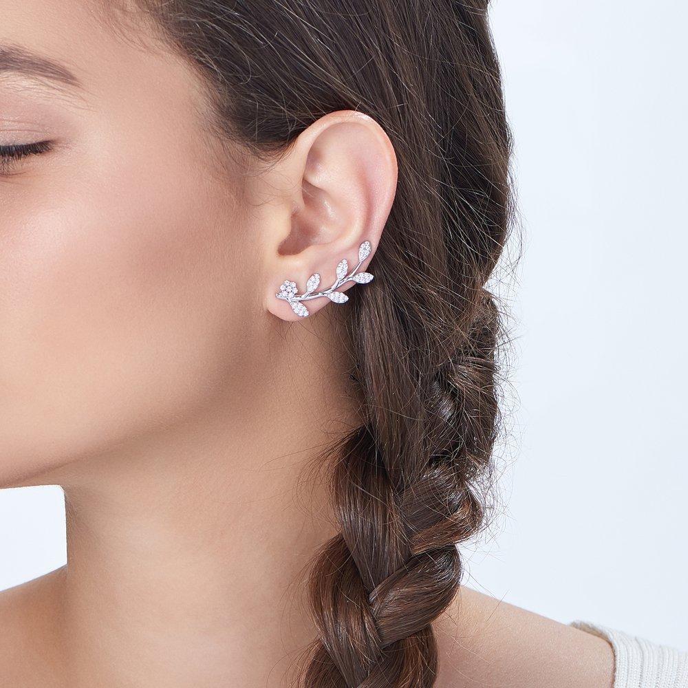 Flora Crawler Earrings Silver 3