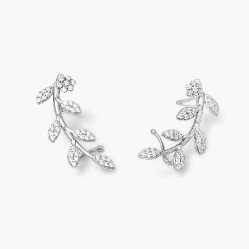 Flora Crawler Earrings, Silver