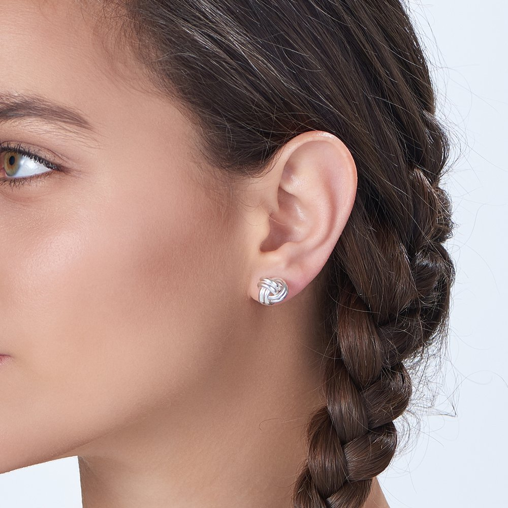 Forget Me Knot Earrings, Silver - 3