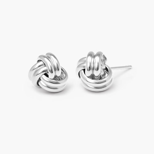 Forget Me Knot Earrings, Silver