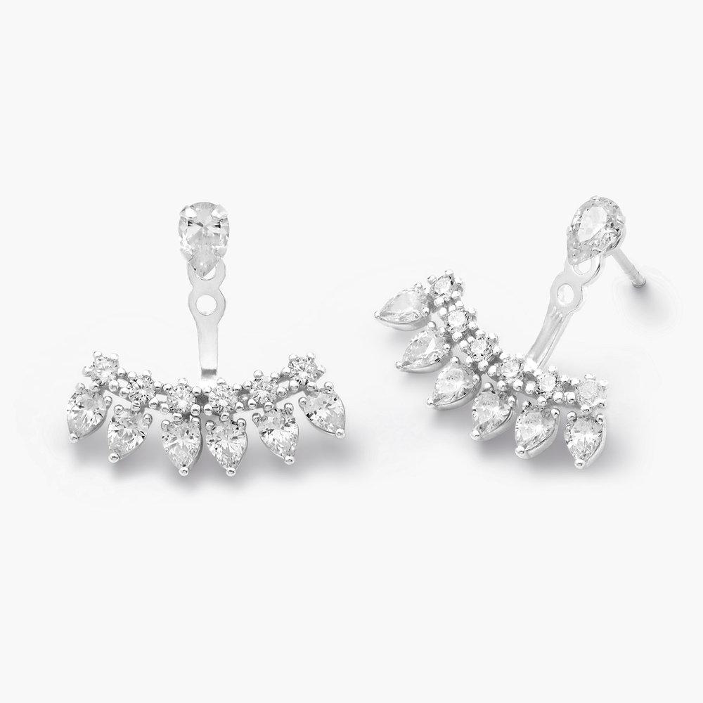 Gleam Ear Jacket Earrings, Silver