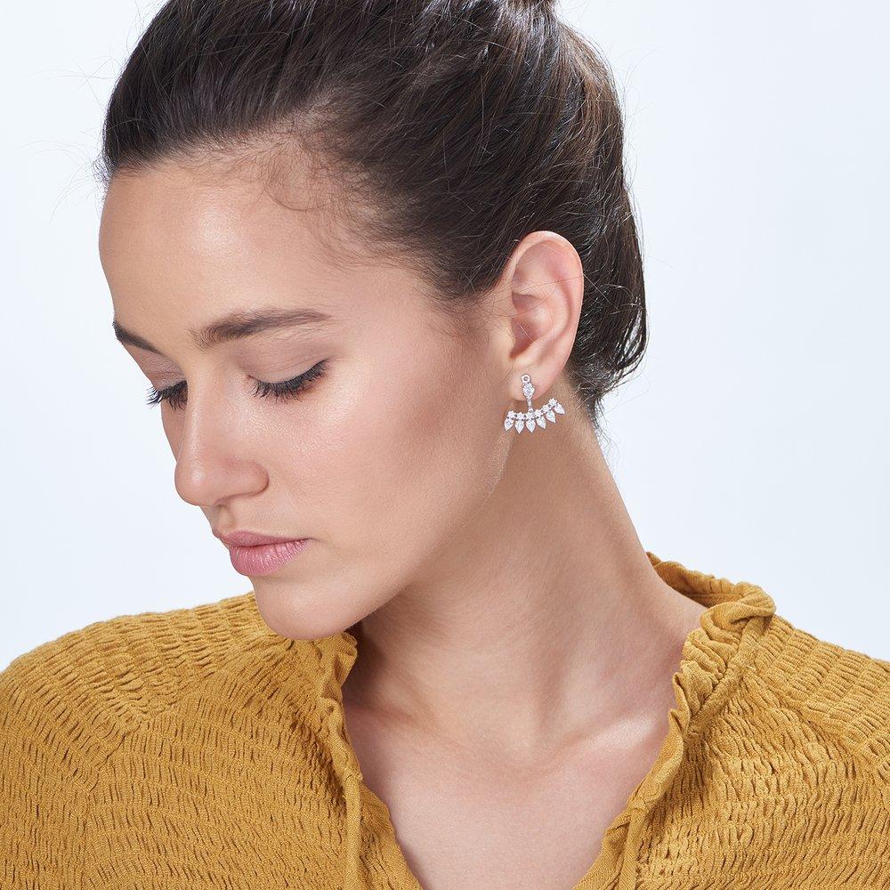 Gleam Ear Jacket Earrings, Silver - 2