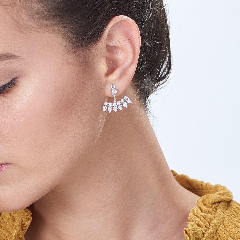 Gleam Ear Jacket Earrings, Silver - 3