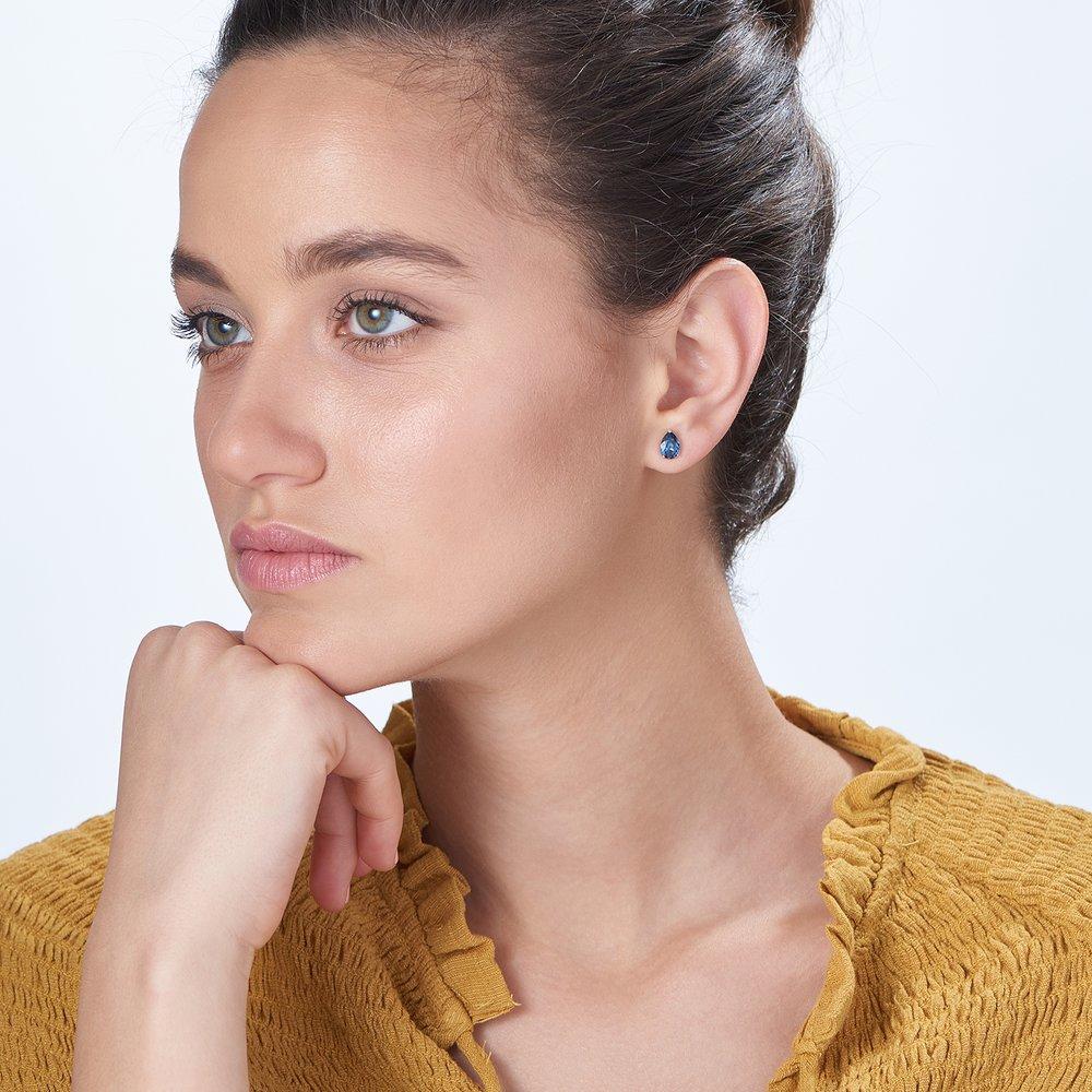 Glimmer Teardrop Earrings, Denim - 1