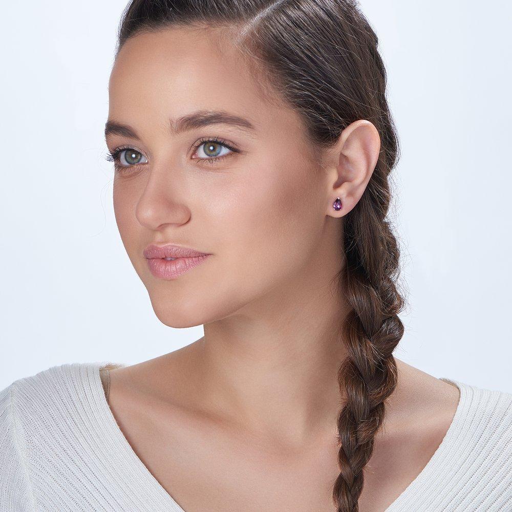 Glimmer Teardrop Earrings, Violet - 1
