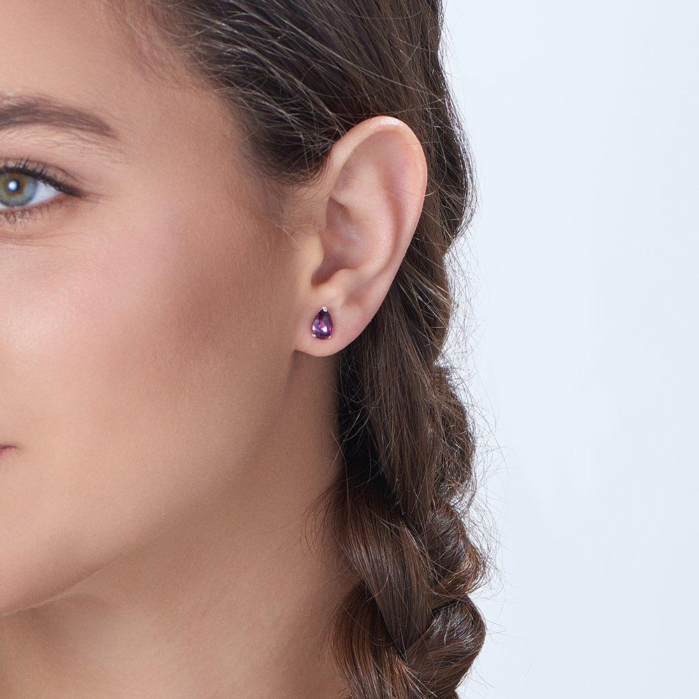 Glimmer Teardrop Earrings, Violet - 2