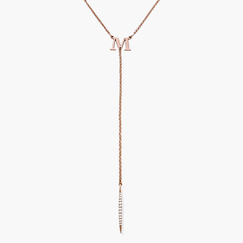 Initial Drop Necklace with Cubic Zirconia, Rose Gold Plated
