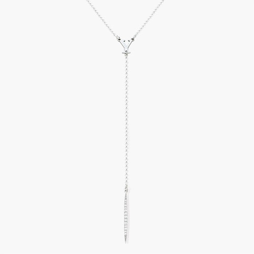 Initial Drop Necklace with Cubic Zirconia, Silver