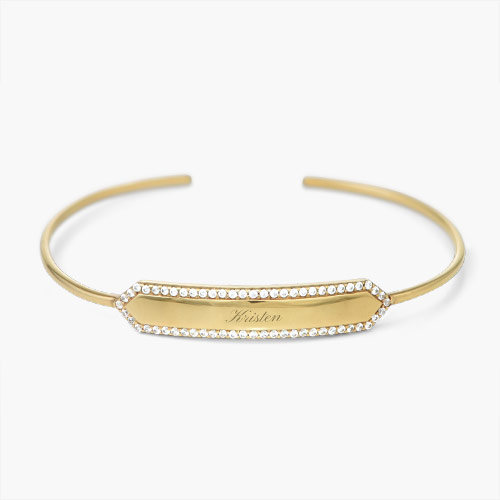 Luna Bangle with Cubic Zirconia, Gold Plated