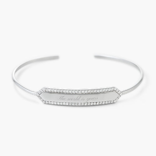 Luna Bangle with Cubic Zirconia, Silver