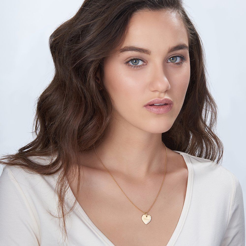 Luna Heart Necklace with Cubic Zirconia, Gold Plated - 1
