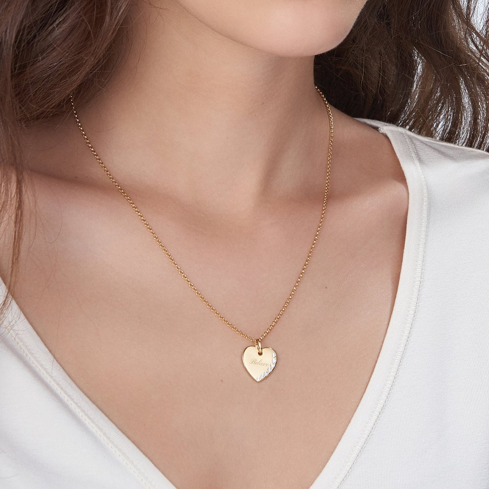 Luna Heart Necklace with Cubic Zirconia, Gold Plated - 2