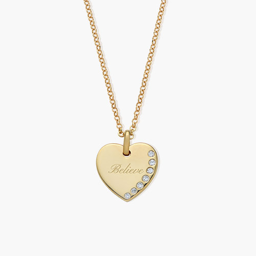 Luna Heart Necklace with Cubic Zirconia, Gold Plated