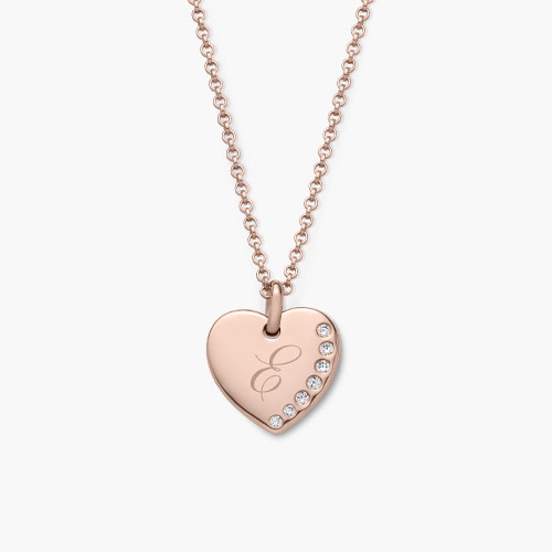 Luna Heart Necklace with Cubic Zirconia, Rose Gold Plated