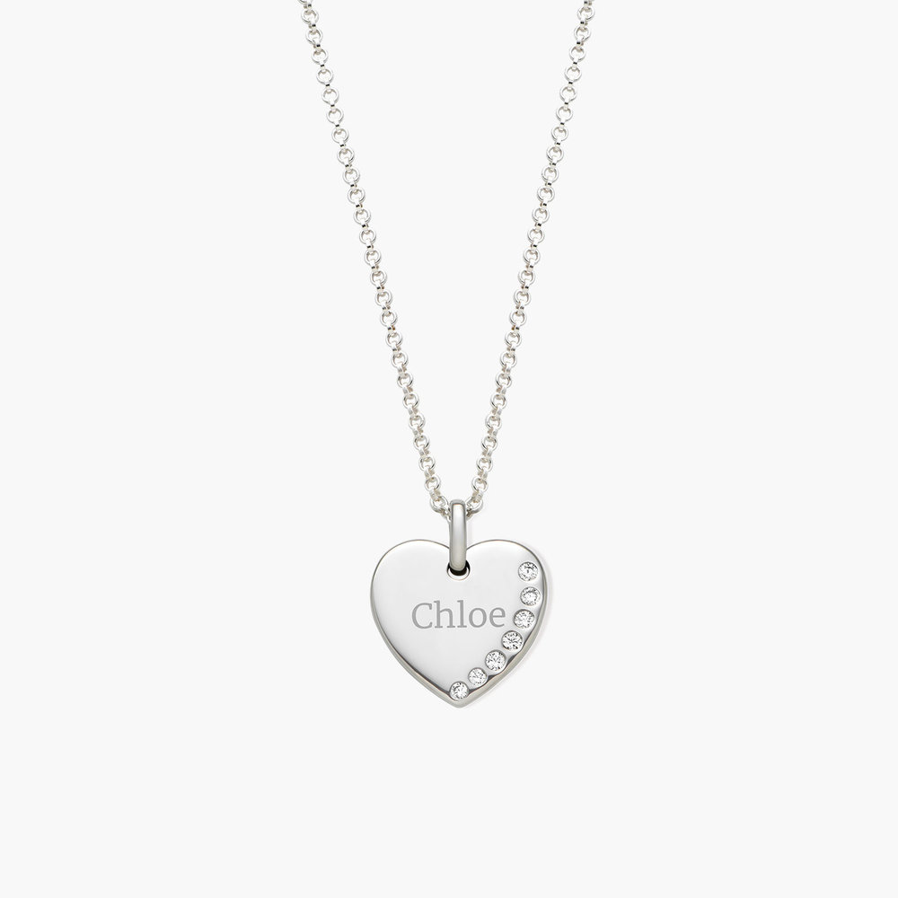 Luna Heart Necklace with Cubic Zirconia, Silver