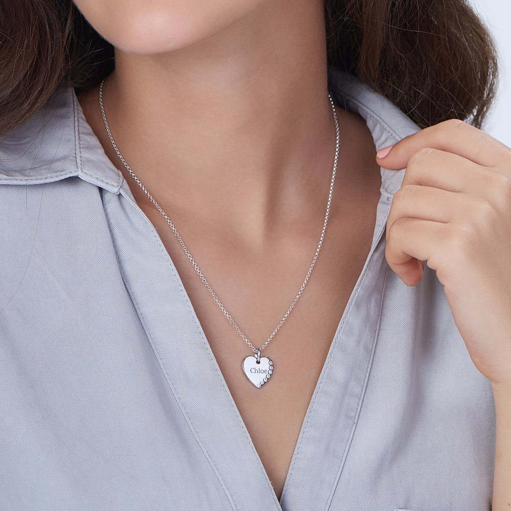 Luna Heart Necklace with Cubic Zirconia, Silver - 2