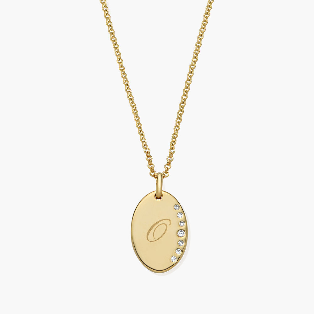 Luna Oval Necklace with Cubic Zirconia, Gold Plated