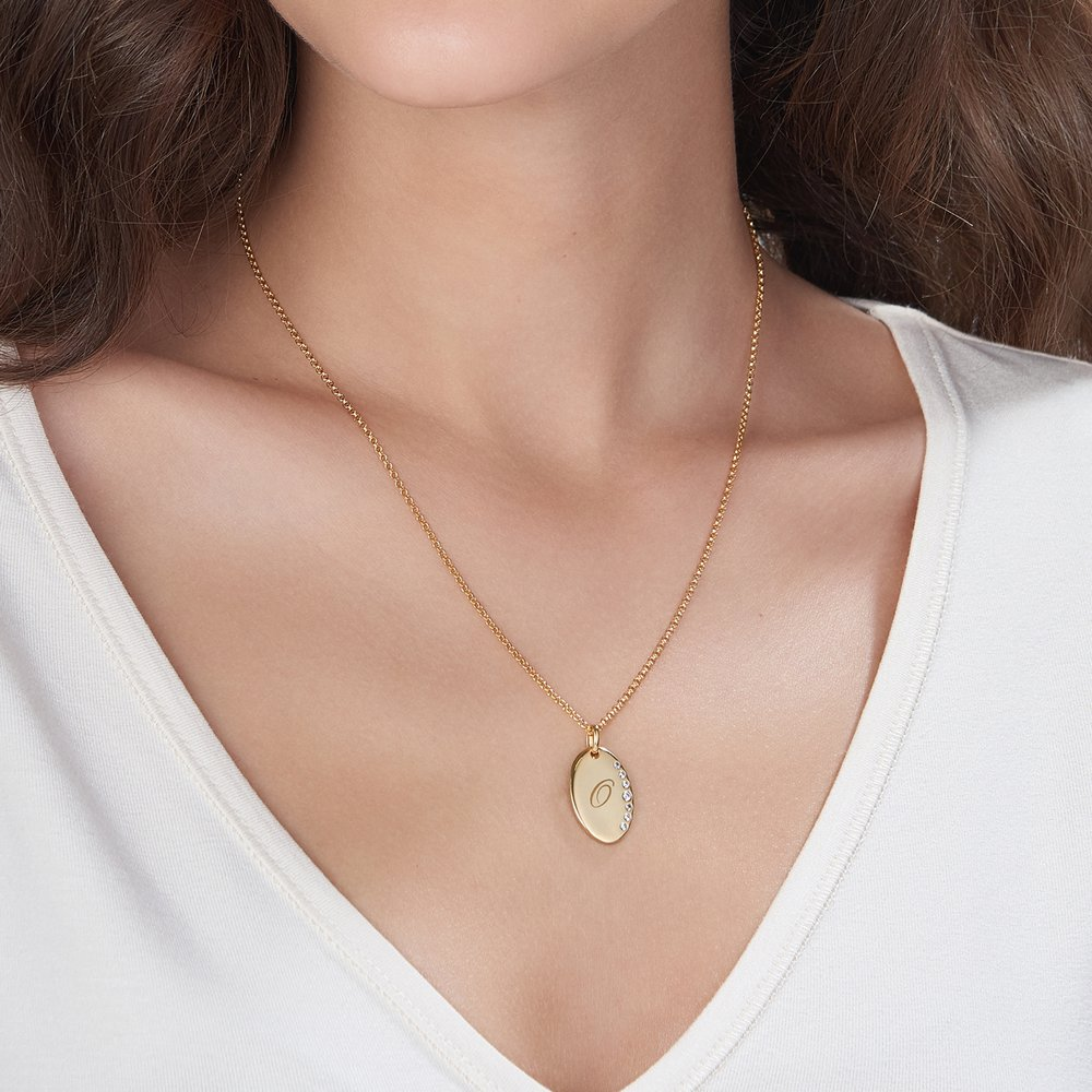 Luna Oval Necklace with Cubic Zirconia, Gold Plated - 2