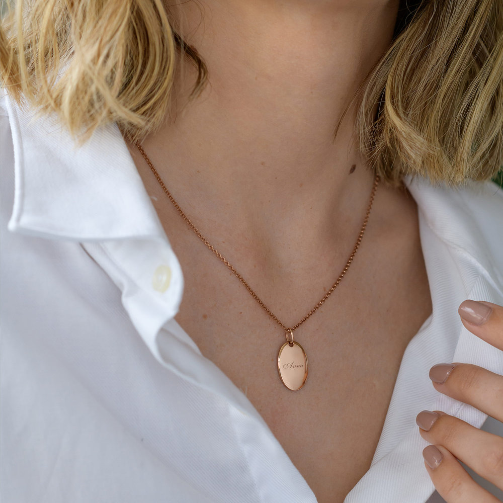 Luna Oval Necklace, Rose Gold Plated - 1