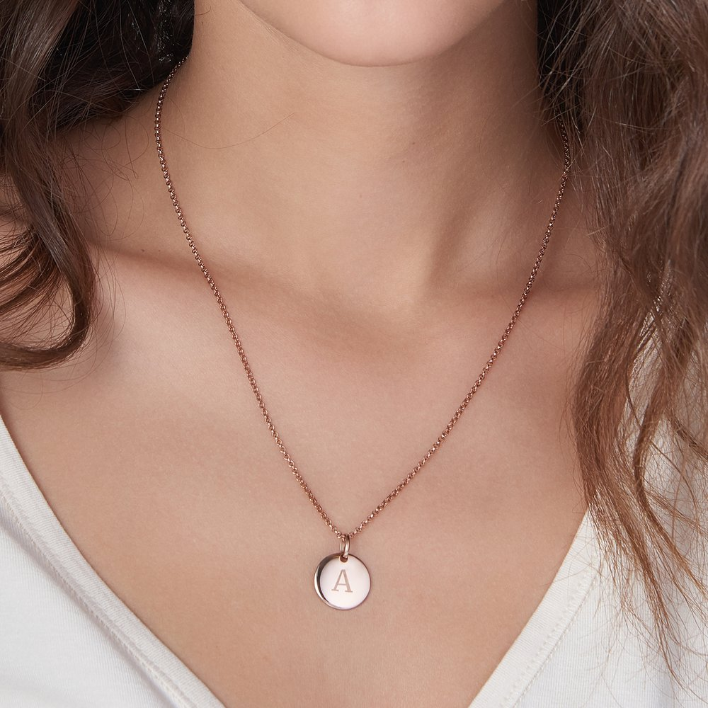 Luna Round Necklace, Rose Gold Plated - 2