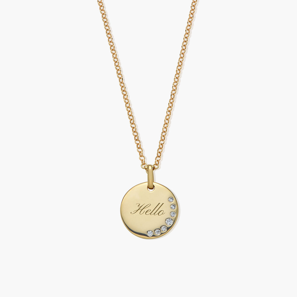 Luna Round Necklace with Cubic Zirconia, Gold Plated
