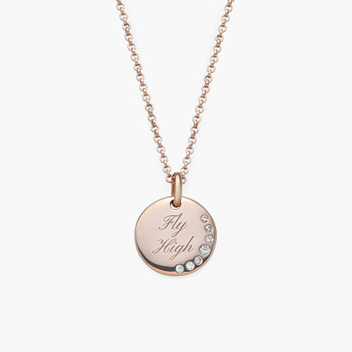 Luna Round Necklace with Cubic Zirconia, Rose Gold Plated