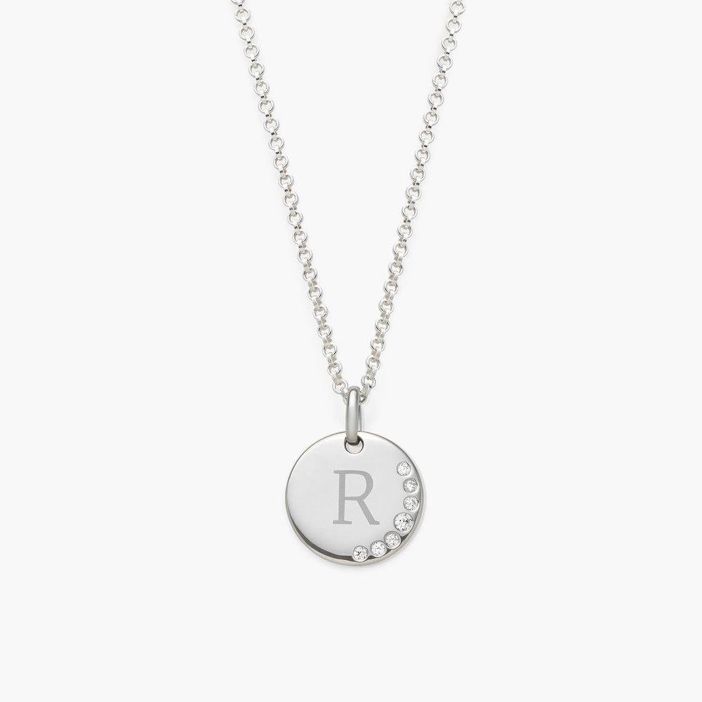 Luna Round Necklace with Cubic Zirconia, Silver