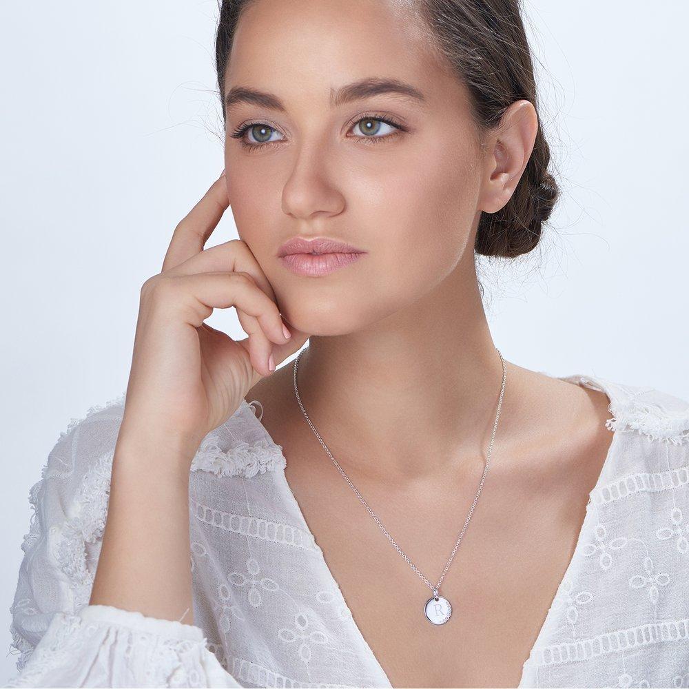 Luna Round Necklace with Cubic Zirconia, Silver - 1