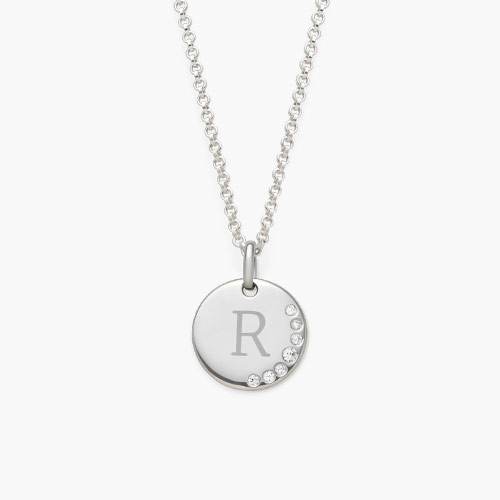 Luna Round Necklace with Cubic Zirconia, Silver