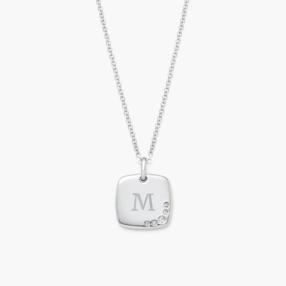 Luna Square Necklace with Cubic Zirconia, Silver