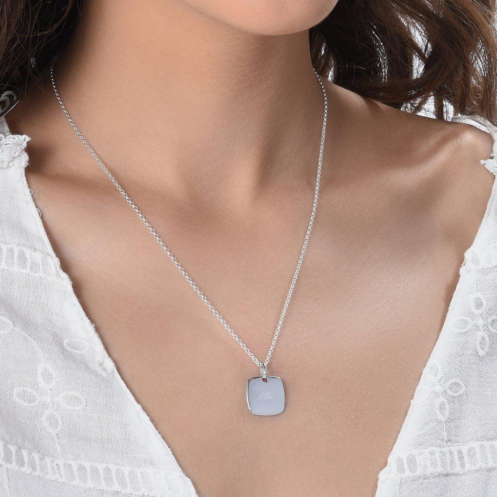 Luna Square Necklace, Silver - 2