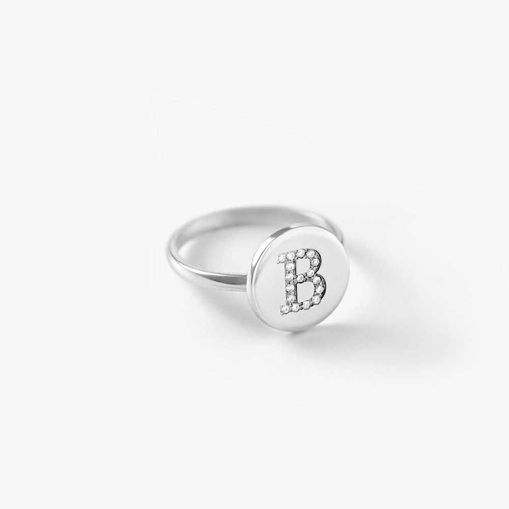 Mini Initial Disc Ring with Cubic Zirconia, Silver - 1