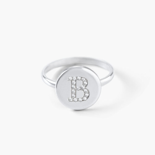 Mini Initial Disc Ring with Cubic Zirconia, Silver