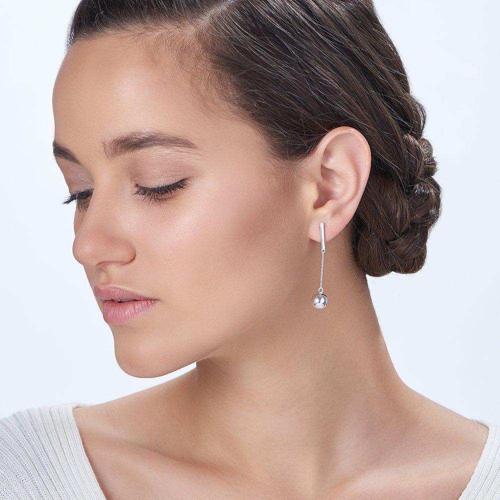 Orb Drop Earrings, Silver - 2