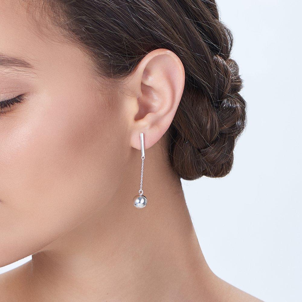 Orb Drop Earrings, Silver - 3