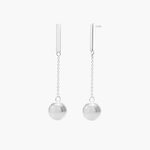 Orb Drop Earrings, Silver