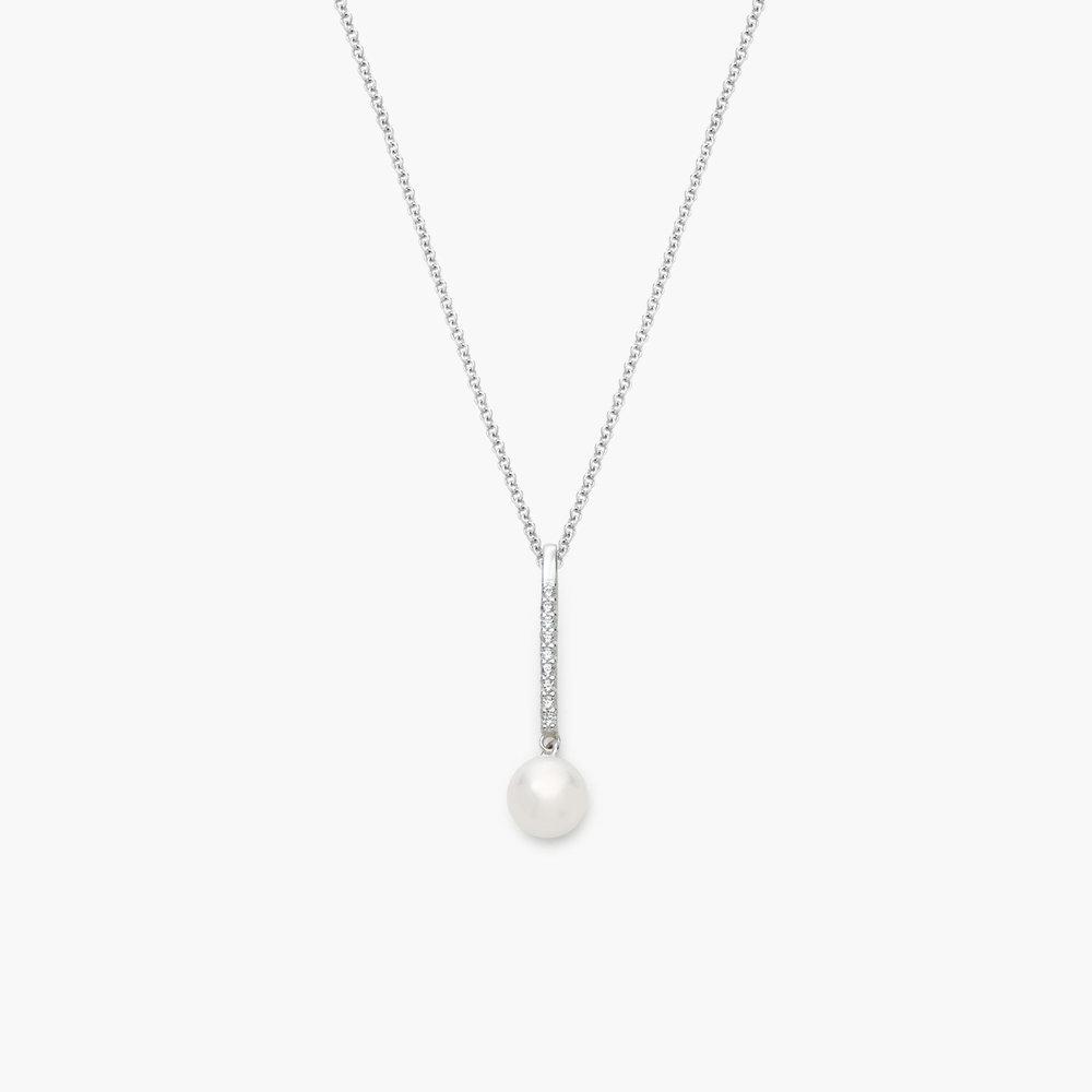 Pearl Drop Necklace, Silver