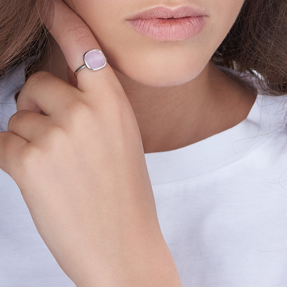 Pink Chalcedony Ring, Silver - 4