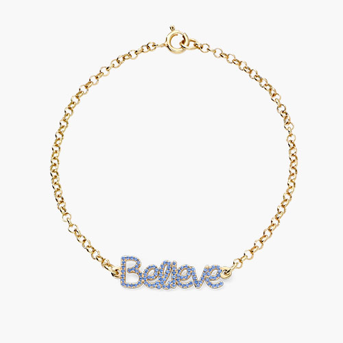 Pixie Name Bracelet with Cubic Zirconia, Gold Plated