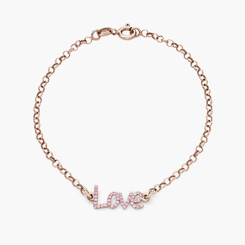 Pixie Name Bracelet with Cubic Zirconia, Rose Gold Plated