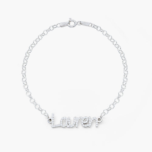 Pixie Name Bracelet with Cubic Zirconia, Silver