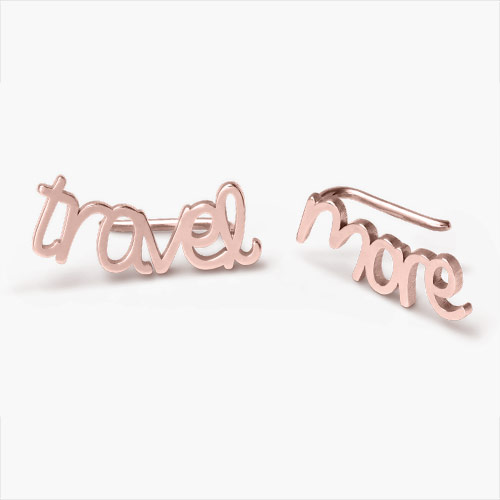 Pixie Name Earrings, Rose Gold Plated