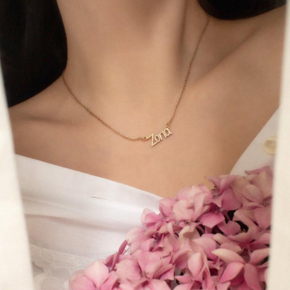 Pixie Name Necklace with Cubic Zirconia, Gold Plated - 1